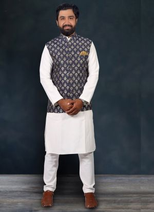 White Cotton Kurta Pajama With Grey Koti