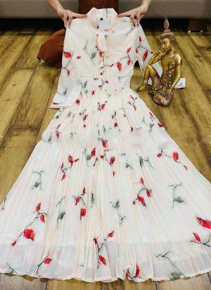 White Digital Printed Western Dress