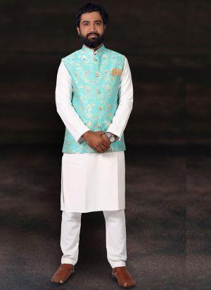 White Kurta Pajama With Jacquard Print Koti