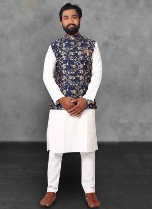 White Kurta Pajama With Navy Blue Koti