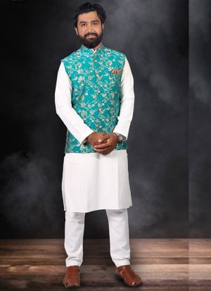 White Kurta Pajama With Sea Green Koti