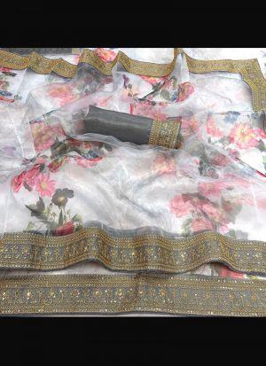 White Organza Silk Embroidery Saree