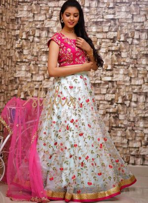White Party Wear Designer Lehenga Choli With Naylon Mono Net Dupatta
