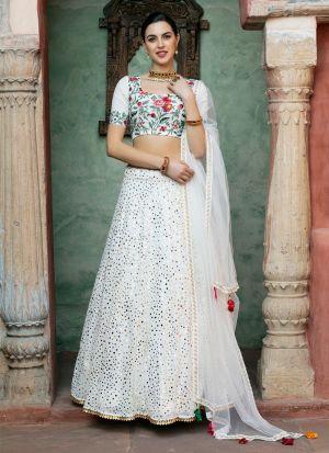 White Sequence Work Lehenga Choli With Net Dupatta