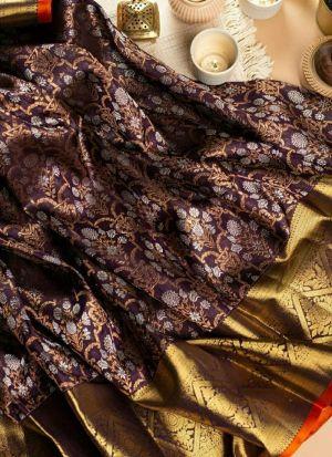 Wine Banarasi Silk Saree For Women