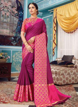 Wine Crystal Silk Designer Indian Saree