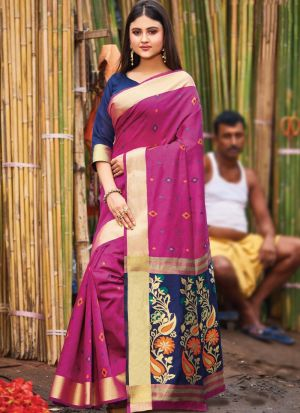 Wine Handloom Cotton Festive Wear Classy Saree