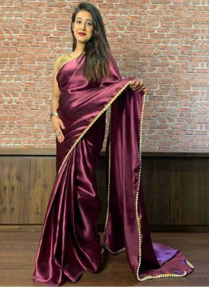 Wine Satin Moti Work Saree For Women