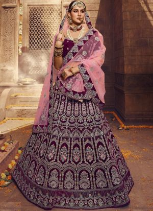 Wine Velvet Havy Design Zari Work Bridal Lehenga Choli