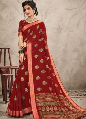 Woman Attractive Maroon Chanderi Saree