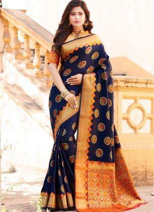 Woman Attractive Navy Banarasi Silk Saree