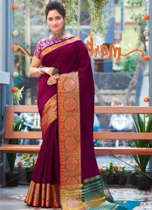 Woman Attractive Purple Khadi Silk Saree