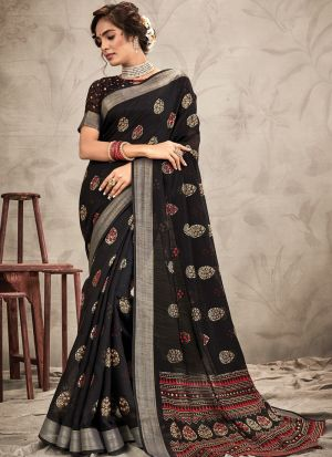 Women'S New Fancy Designer Black Chanderi Saree