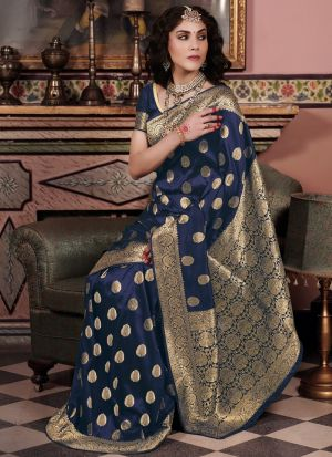 Women'S New Fancy Designer Navy Pure Silk Saree