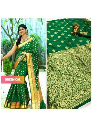 World New Collection Green Banarasi Saree