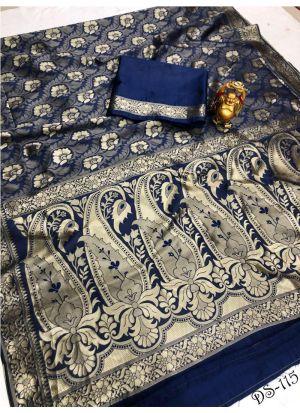 World New Collection Navy Banarasi Saree