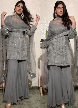 Yankita Kapoor Grey Georgette Palazzo Suit
