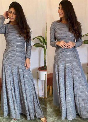 Yankita Kapoor Grey Georgette Salwar Suit