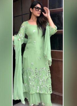 Yankita Kapoor Light Green Palazzo Suit