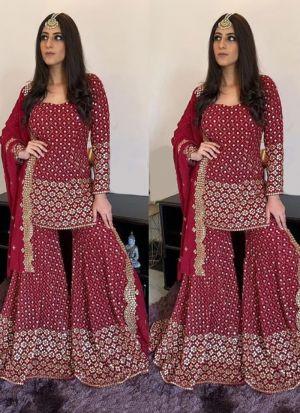 Yankita Kapoor Style Wedding Wear Red Sharara Suit