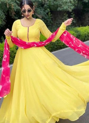 Yellow Anarkali Gown With Printed Dupatta