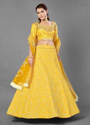 Yellow Art Silk Party Wear Lehenga Choli