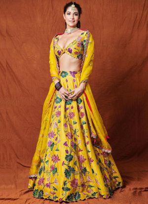 Yellow Chain Stitch Lehenga Choli