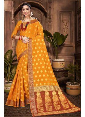 Yellow Chanderi Cotton Festive Wear Classy Saree