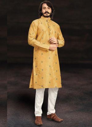 Yellow Color Kurta With White Pajama