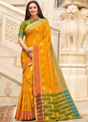 Yellow Cotton Handloom Beutiful Wedding Saree