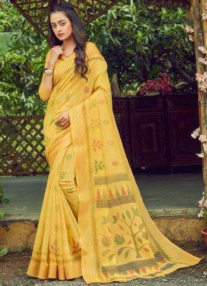 Yellow Cotton Printed Casual Saree