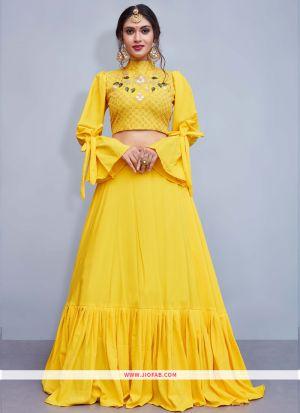 Yellow Crepe Silk Designer Lehenga Choli With Embroidered