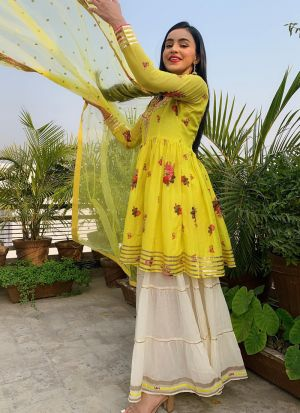 Yellow Crepe Silk Digital Printed Bollywood Style Sharara Suit