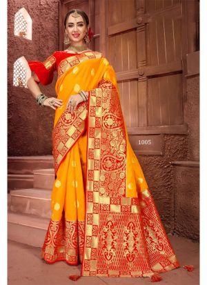 Yellow Crystal Silk Designer Traditional Saree For Wedding