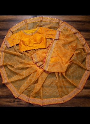 Yellow Digital Printed Casual Wear Saree