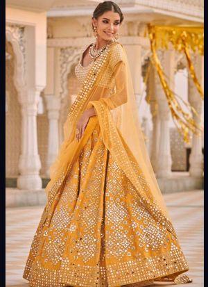 Yellow Embroidered Haldi Wear Lehenga Choli