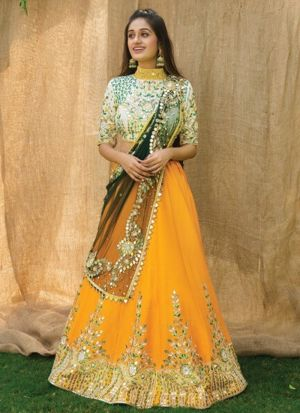 Yellow Embroidery Lehenga With Dupatta