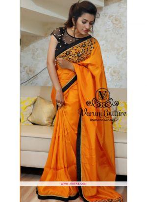 Yellow Fancy Thread Work Designer Saree With Blouse NX 304
