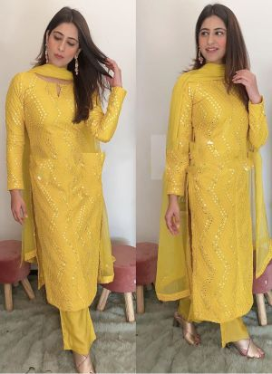 Yellow Foux Georgette Sequence Work Bollywood Style Palazzo Suit
