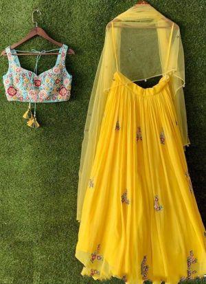 Yellow Georgette Embroidered Haldi Wear Lehenga Choli