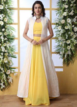 Yellow Georgette Haldi Ceremony Wear Lehenga Choli