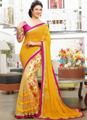 Yellow Georgette Printed Divyanka Tripathi Saree