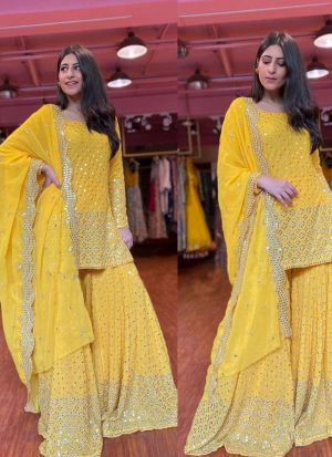 Yellow Georgette Thread Work Sharara Suit