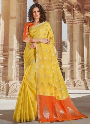 Yellow Linen Cotton Indian Traditional Saree
