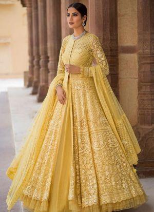 Yellow Net Hit Design Partywear Lehenga Choli