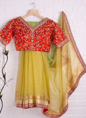Yellow Organza Beautiful Checks Saree