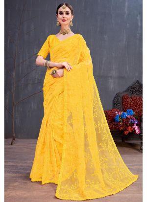 Yellow Organza Resham Embroidery Party Wear Designer Saree