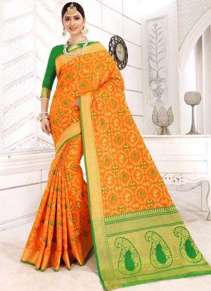 Yellow Patola Silk Designer Sarees For Wedding
