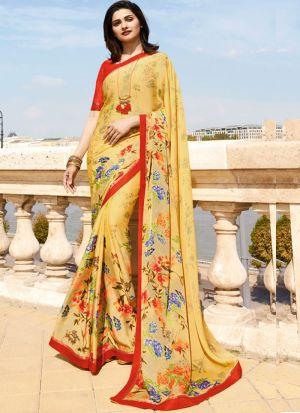 Yellow Rangoli Silk Printed Bollywood Style Saree