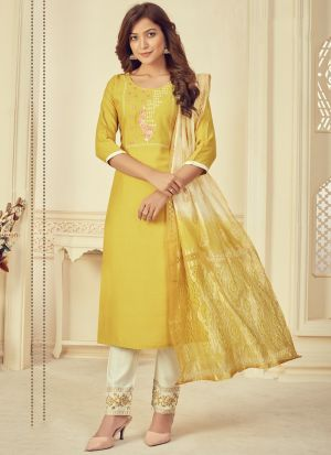 Yellow Rayon Embroidery Salwar Suit